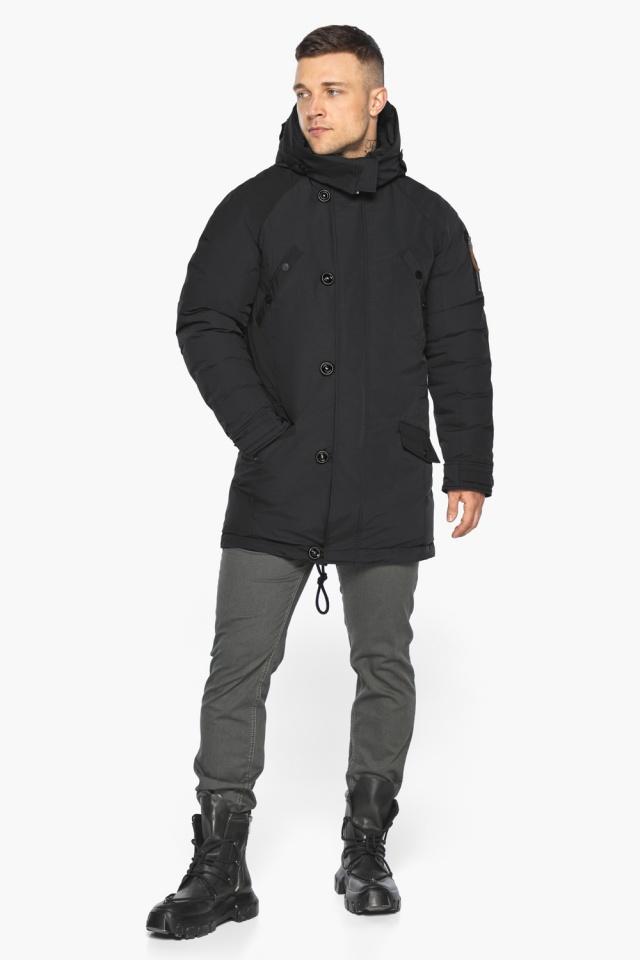 """Куртка – воздуховик прямого кроя чёрный мужской на зиму модель 30707 Braggart """"Angel's Fluff Man"""" фото 2"""