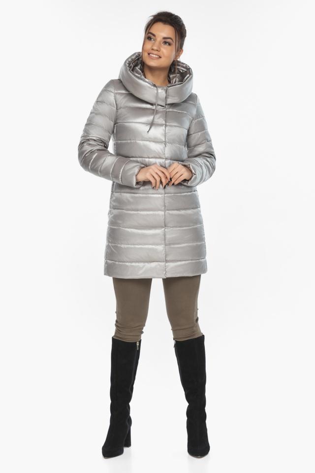 """Люксовая куртка женская на осень цвет перламутровый светло-серый модель 65085 Braggart """"Angel's Fluff"""" фото 2"""
