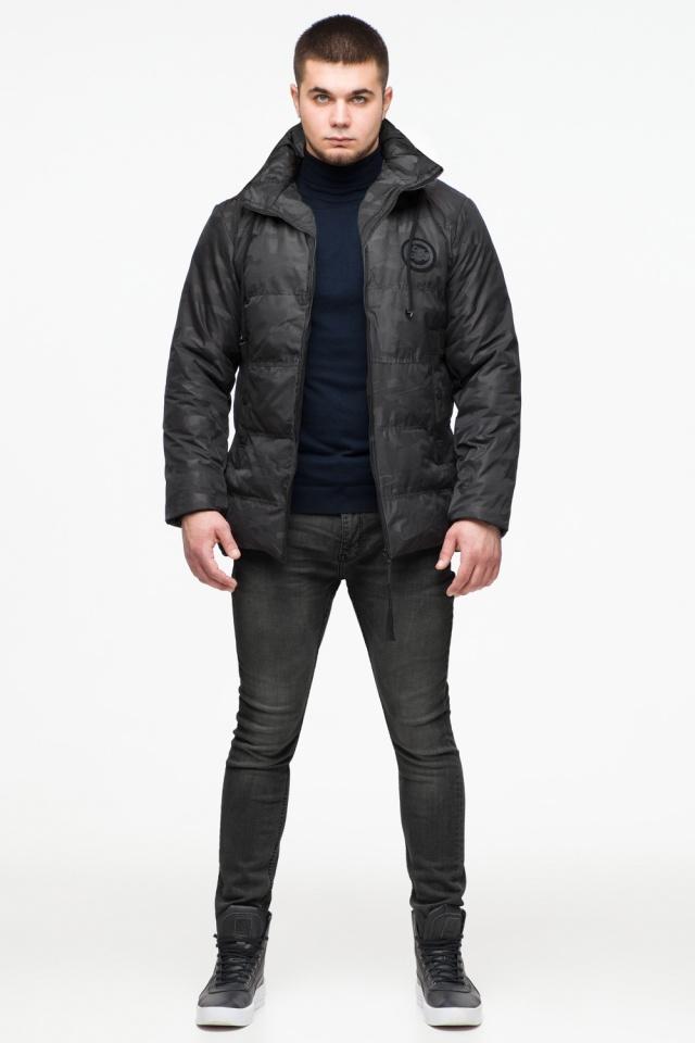 "Камуфлированная зимняя куртка на мужчину чёрная модель 25020 Braggart ""Youth"" фото 3"