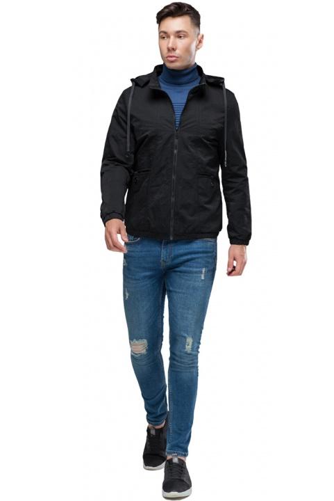 """Черная ветровка мужская осенне-весенняя на молнии модель 38399 Braggart """"Youth"""" фото 1"""