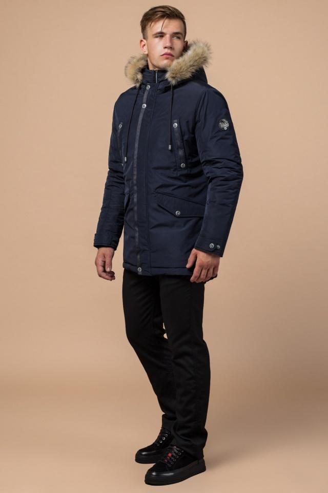 """Синяя качественная мужская зимняя парка модель 27830 Braggart """"Dress Code"""" фото 4"""