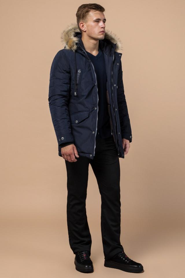 """Синяя качественная мужская зимняя парка модель 27830 Braggart """"Dress Code"""" фото 2"""