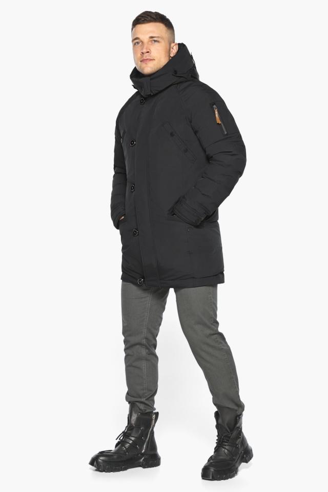 """Куртка – воздуховик прямого кроя чёрный мужской на зиму модель 30707 Braggart """"Angel's Fluff Man"""" фото 7"""
