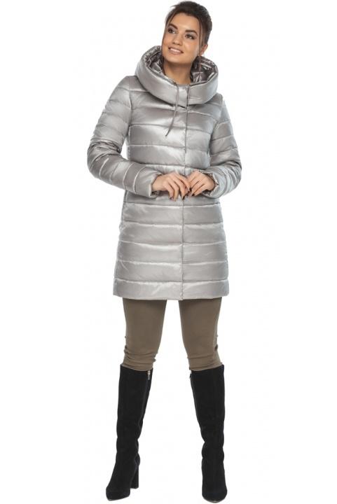 """Люксовая куртка женская на осень цвет перламутровый светло-серый модель 65085 Braggart """"Angel's Fluff"""" фото 1"""