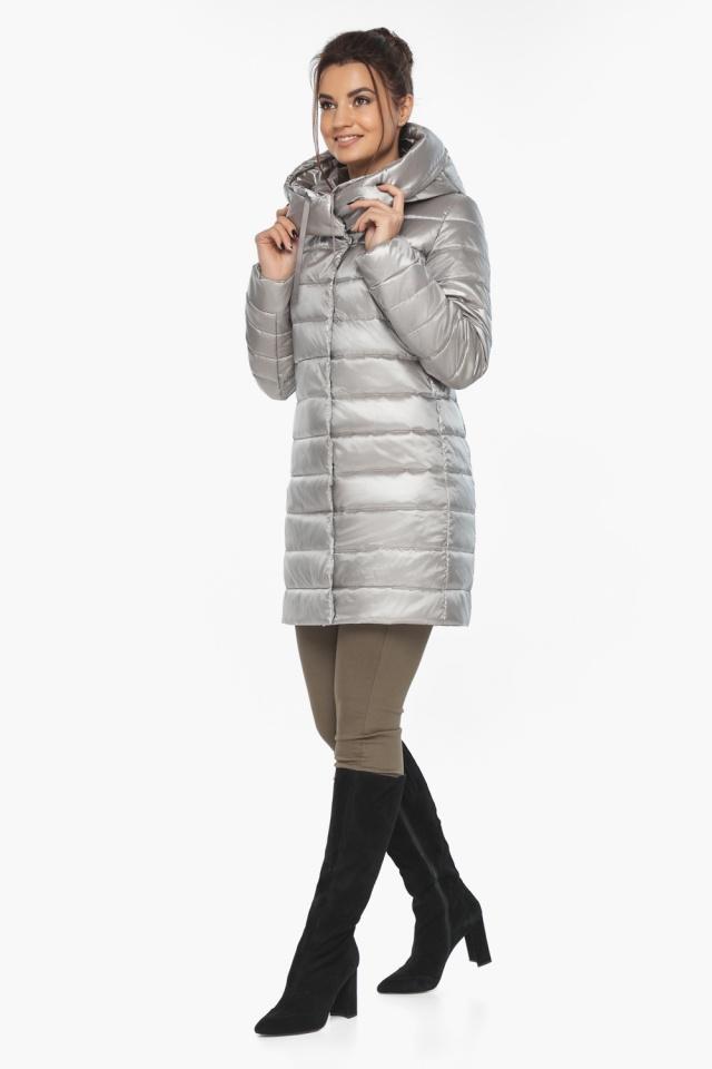 """Люксовая куртка женская на осень цвет перламутровый светло-серый модель 65085 Braggart """"Angel's Fluff"""" фото 5"""