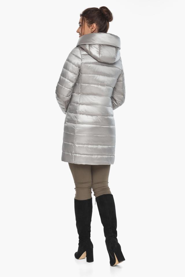"""Люксовая куртка женская на осень цвет перламутровый светло-серый модель 65085 Braggart """"Angel's Fluff"""" фото 7"""