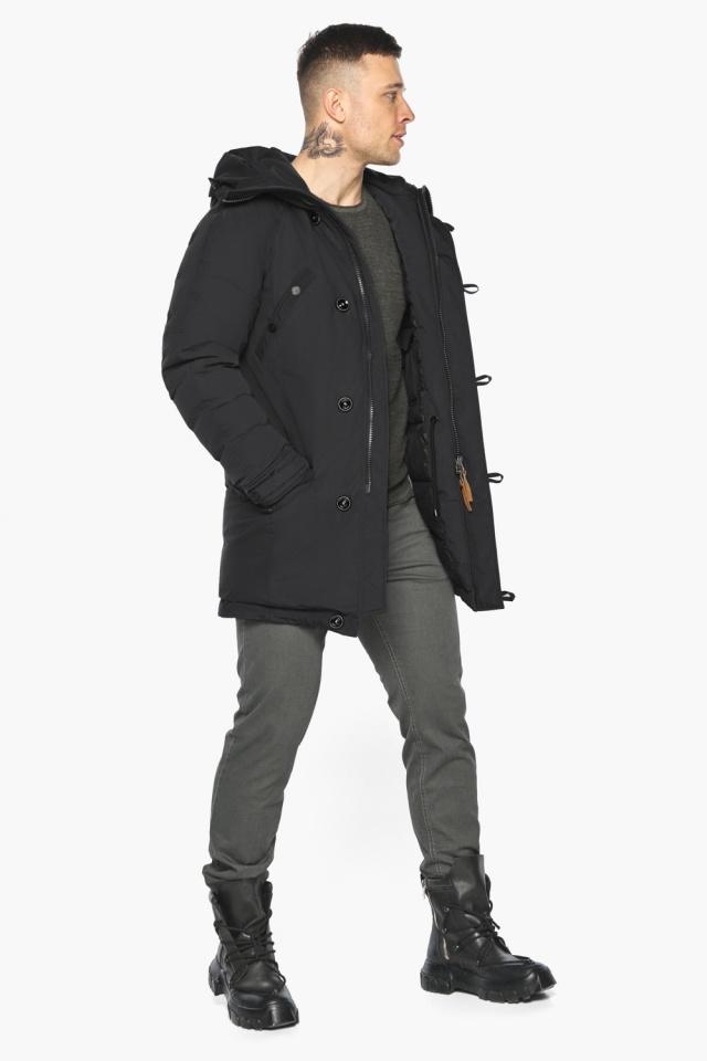 """Куртка – воздуховик прямого кроя чёрный мужской на зиму модель 30707 Braggart """"Angel's Fluff Man"""" фото 3"""