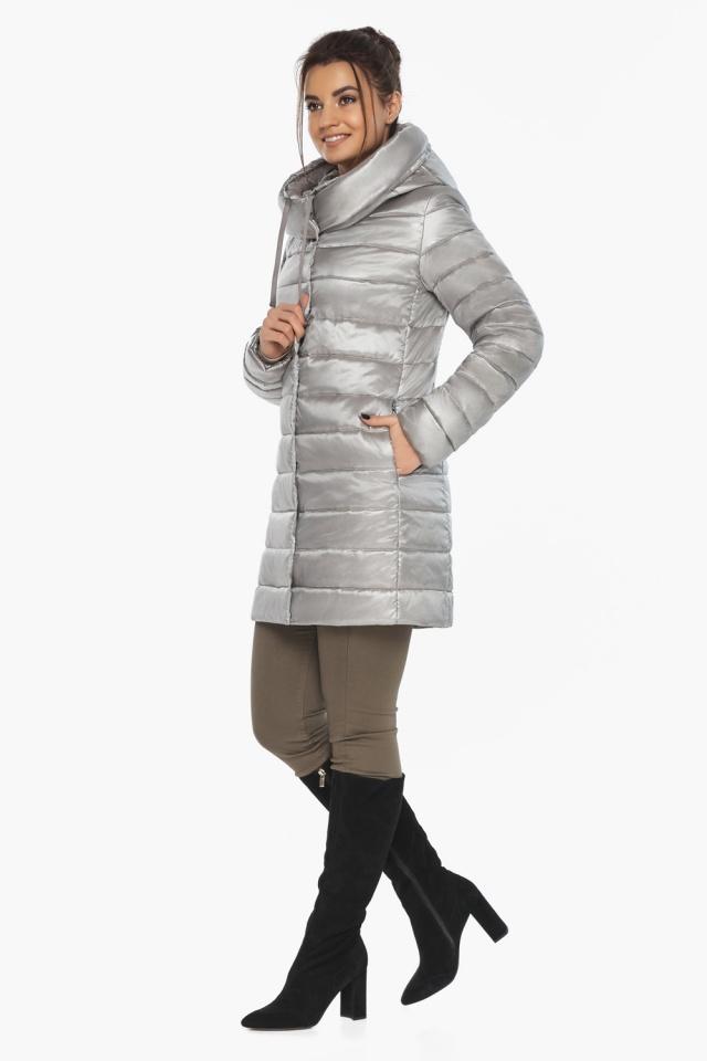 """Люксовая куртка женская на осень цвет перламутровый светло-серый модель 65085 Braggart """"Angel's Fluff"""" фото 6"""