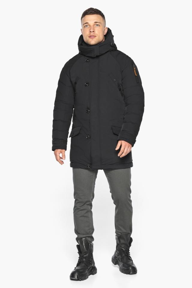"""Куртка – воздуховик прямого кроя чёрный мужской на зиму модель 30707 Braggart """"Angel's Fluff Man"""" фото 5"""