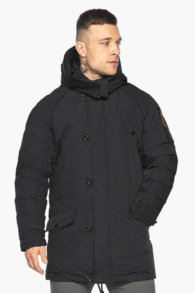 """Куртка – воздуховик прямого кроя чёрный мужской на зиму модель 30707 Braggart """"Angel's Fluff Man"""" фото 4"""