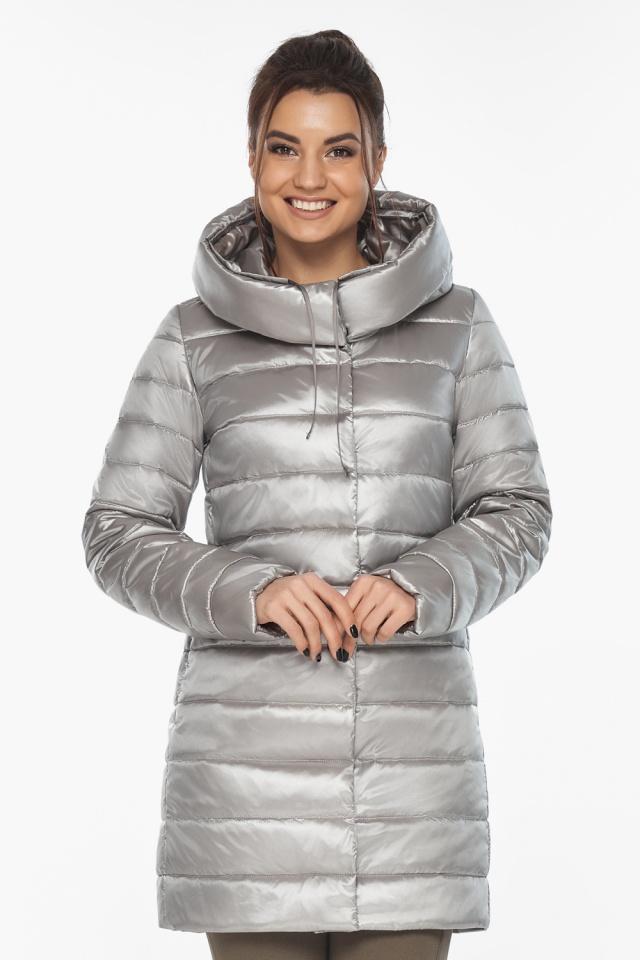 """Люксовая куртка женская на осень цвет перламутровый светло-серый модель 65085 Braggart """"Angel's Fluff"""" фото 4"""