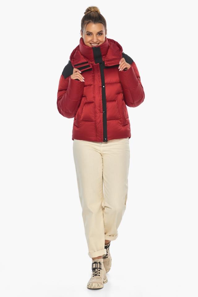 """Рубиновая куртка с воротником женская зимняя модель 57520 Braggart """"Angel's Fluff"""" фото 6"""