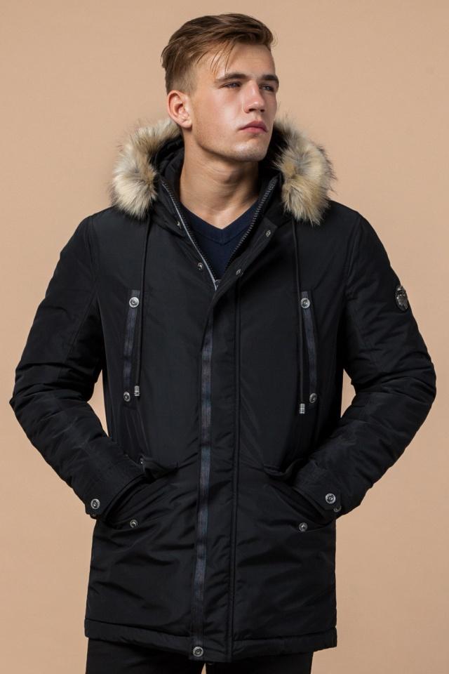 """Черная зимняя мужская парка с долговечной фурнитурой модель 27830 Braggart """"Dress Code"""" фото 4"""