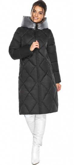 """Женская чёрная куртка зимняя с капюшоном модель 46510 Braggart """"Angel's Fluff"""" фото 1"""