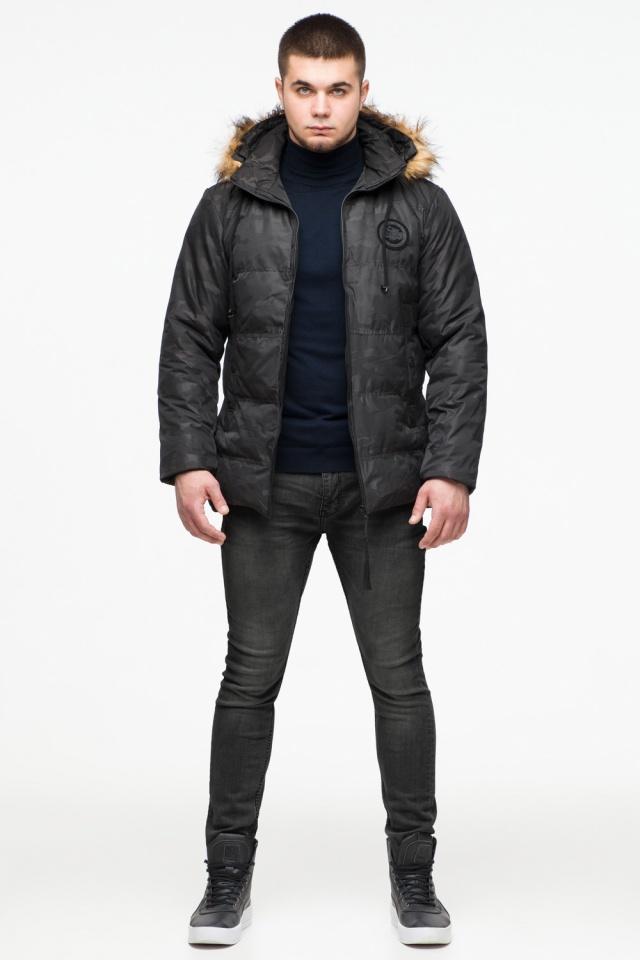 Черная мужская молодежная дизайнерская зимняя куртка модель 25310