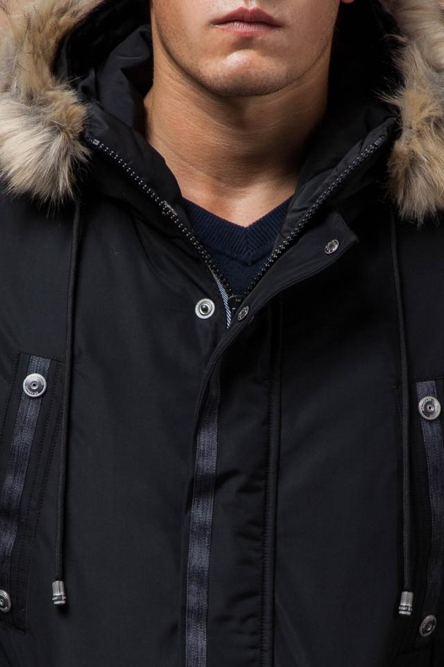 """Черная зимняя мужская парка с долговечной фурнитурой модель 27830 Braggart """"Dress Code"""" фото 6"""