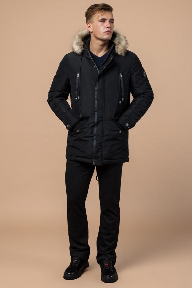 """Черная зимняя мужская парка с долговечной фурнитурой модель 27830 Braggart """"Dress Code"""" фото 2"""