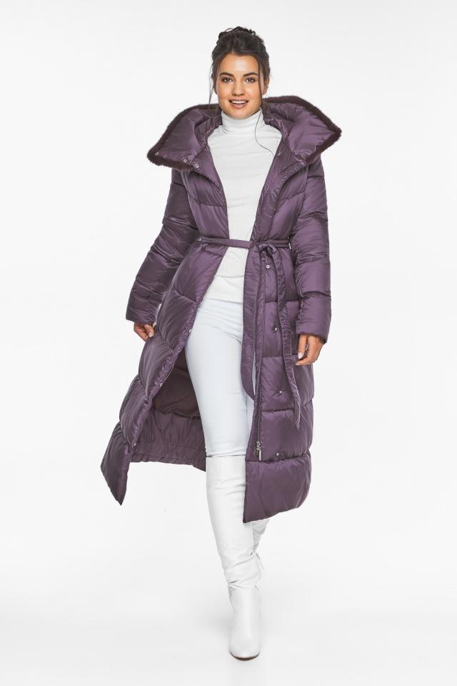 """Куртка длинная женская цвет баклажан модель 45085 Braggart """"Angel's Fluff"""" фото 3"""