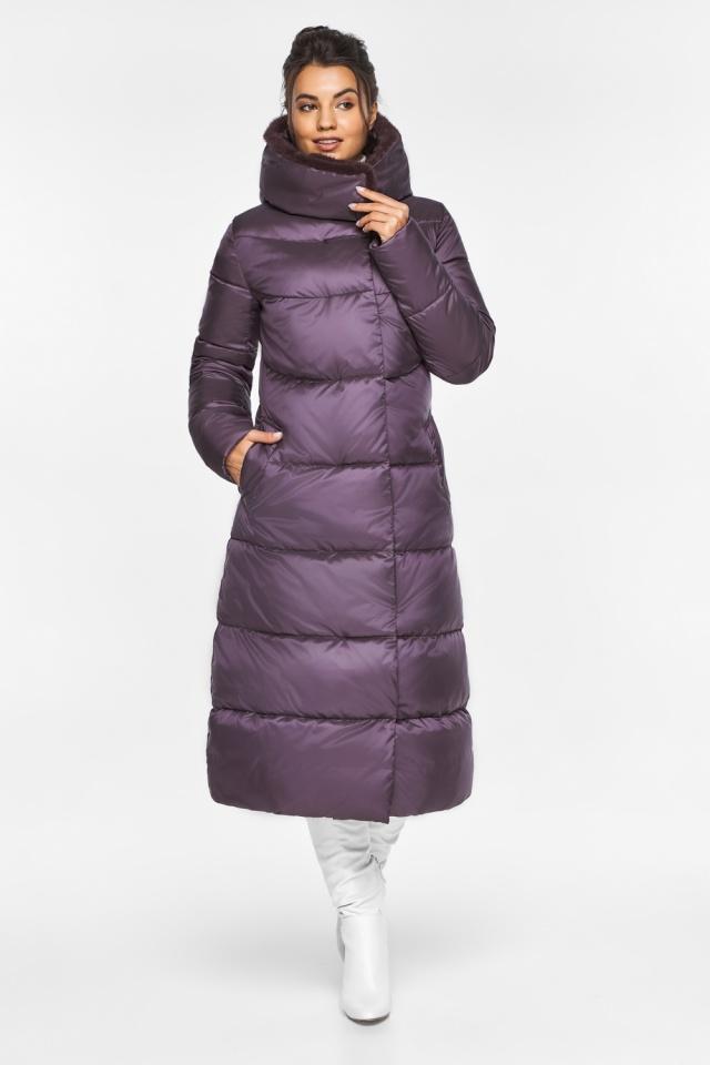 """Куртка длинная женская цвет баклажан модель 45085 Braggart """"Angel's Fluff"""" фото 2"""