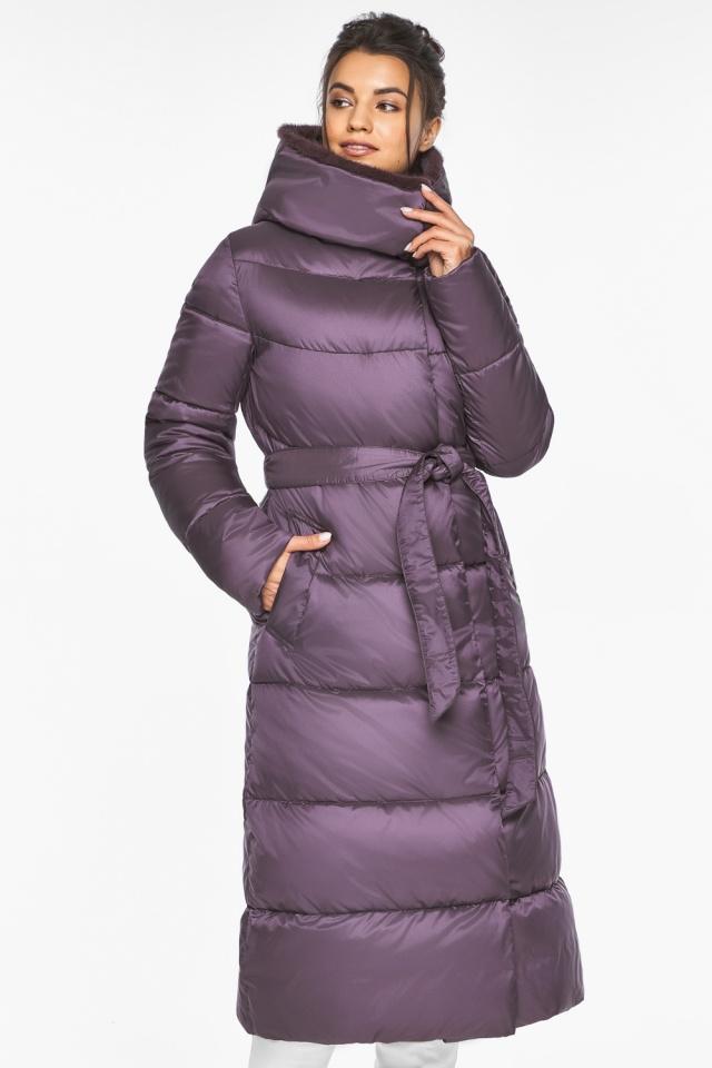 """Куртка длинная женская цвет баклажан модель 45085 Braggart """"Angel's Fluff"""" фото 4"""