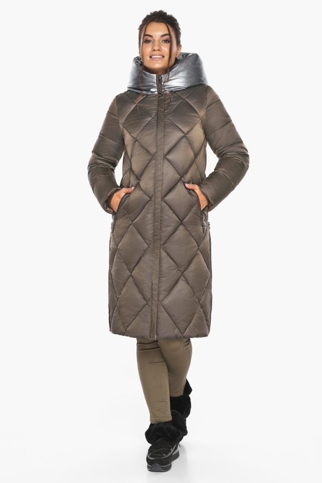 """Куртка капучиновая женская оригинальная зимняя модель 46510 Braggart """"Angel's Fluff"""" фото 2"""