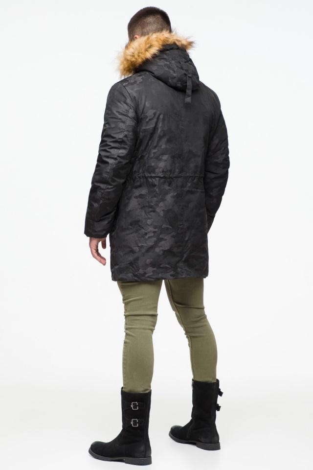 "Мужская черная парка с накладными карманами зимняя модель 25500 Braggart ""Youth"" фото 6"