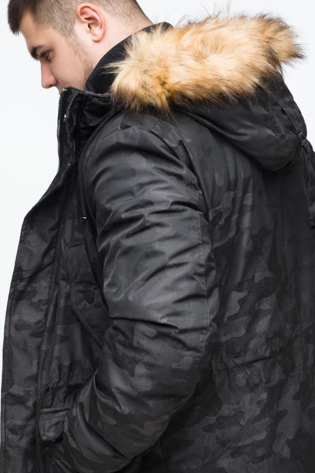 "Мужская черная парка с накладными карманами зимняя модель 25500 Braggart ""Youth"" фото 9"