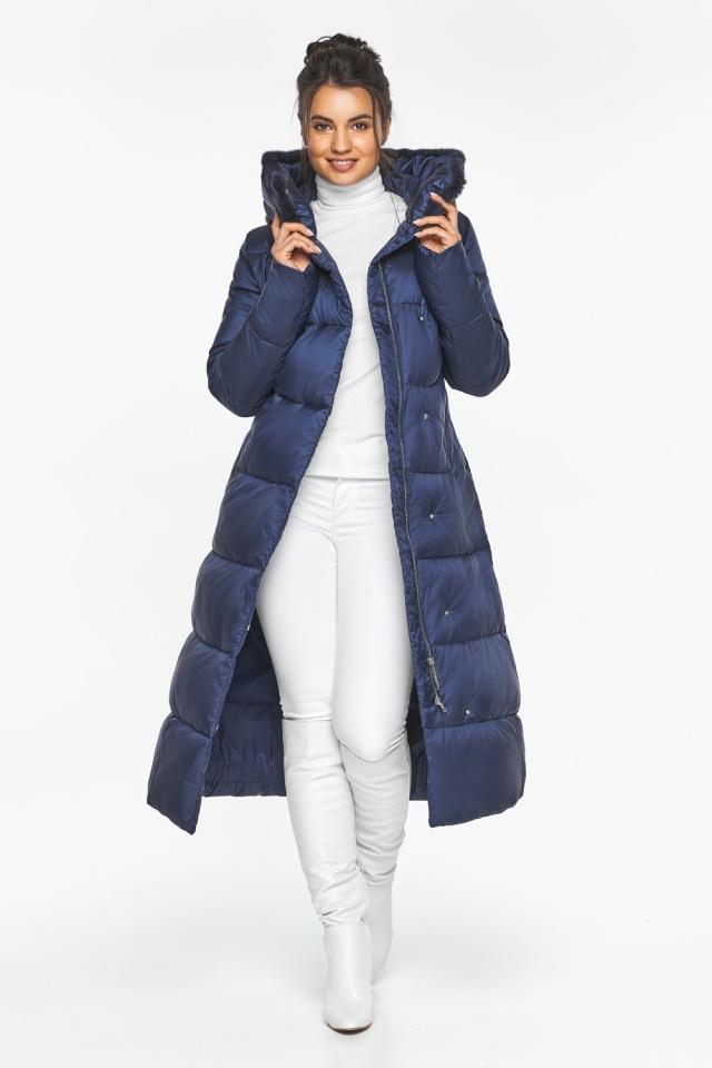 """Теплая женская куртка цвет синий бархат модель 45085 Braggart """"Angel's Fluff"""" фото 3"""