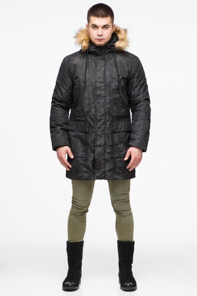 "Мужская черная парка с накладными карманами зимняя модель 25500 Braggart ""Youth"" фото 2"