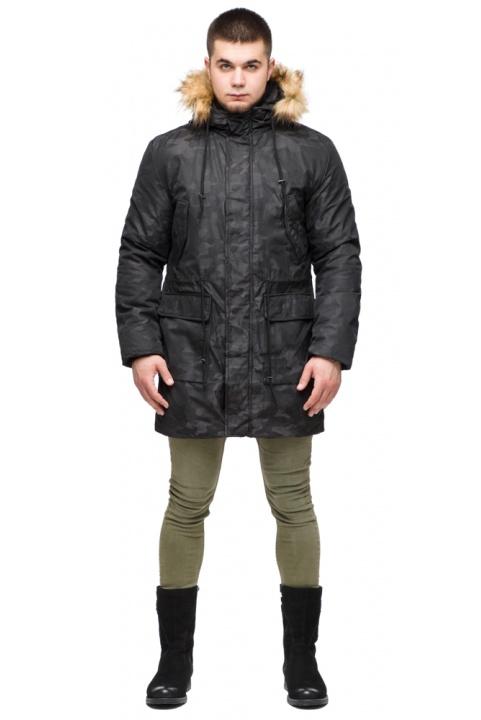 "Мужская черная парка с накладными карманами зимняя модель 25500 Braggart ""Youth"" фото 1"