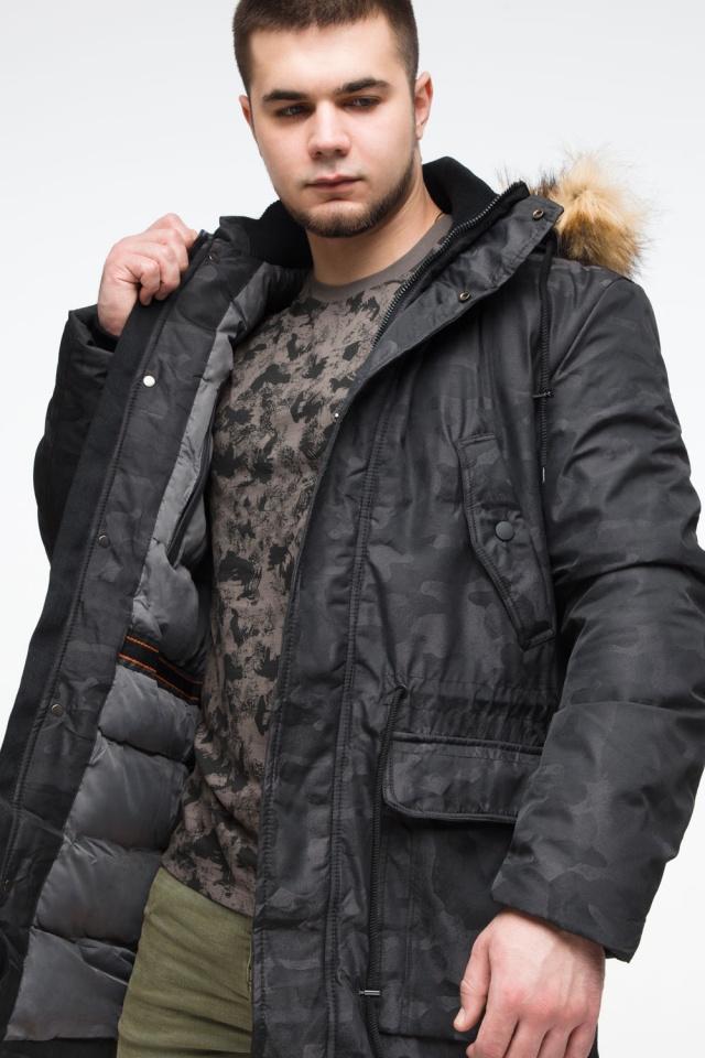 "Мужская черная парка с накладными карманами зимняя модель 25500 Braggart ""Youth"" фото 10"