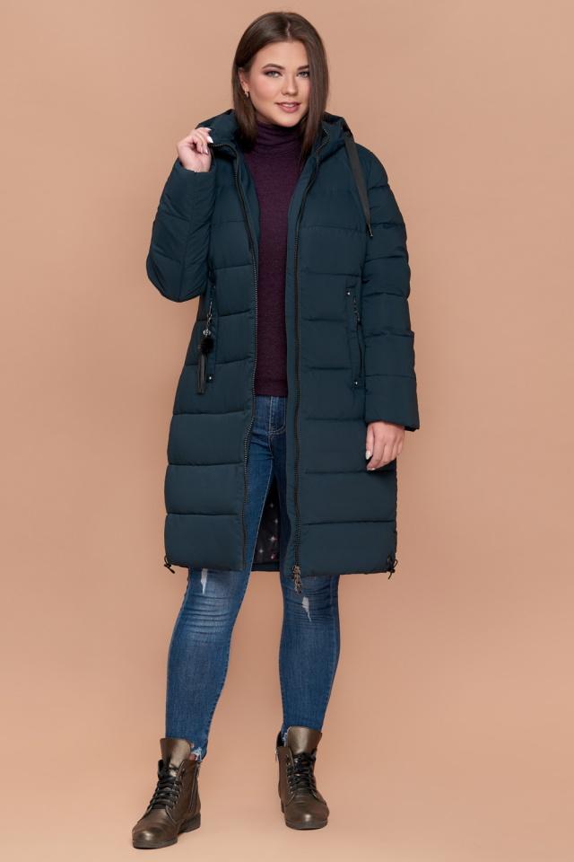 Женская темно-зеленая куртка большого размера зимняя модель 25045