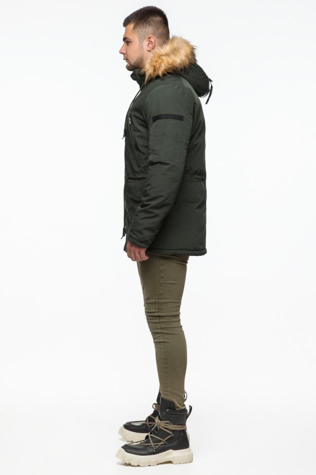 "Тёмно-зеленая мужская зимняя парка трендовая модель 25770 Braggart ""Youth"" фото 5"