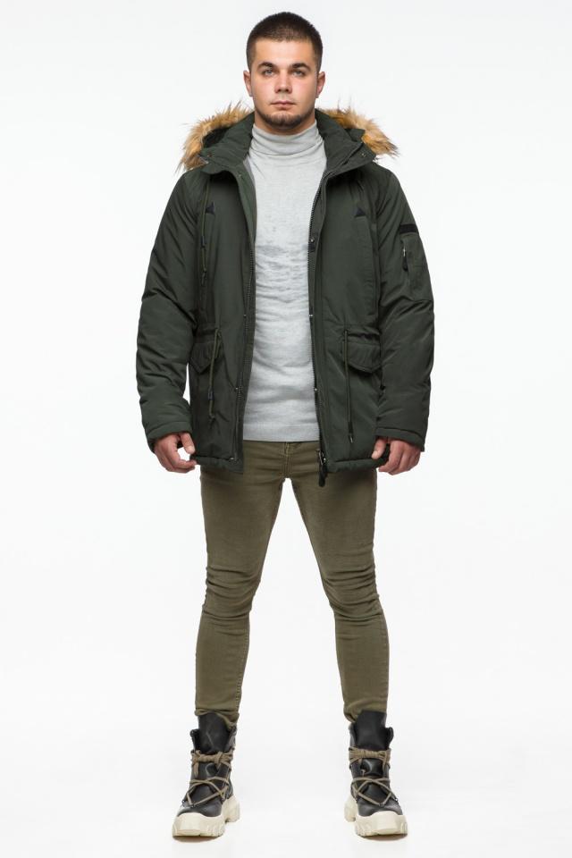 "Тёмно-зеленая мужская зимняя парка трендовая модель 25770 Braggart ""Youth"" фото 3"