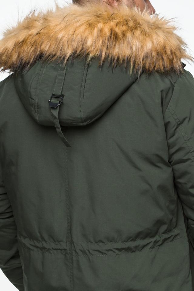 "Тёмно-зеленая мужская зимняя парка трендовая модель 25770 Braggart ""Youth"" фото 10"