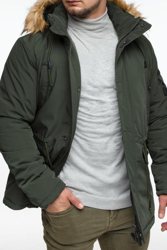"Тёмно-зеленая мужская зимняя парка трендовая модель 25770 Braggart ""Youth"" фото 9"