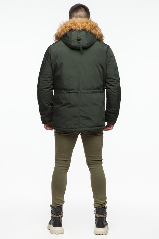 "Тёмно-зеленая мужская зимняя парка трендовая модель 25770 Braggart ""Youth"" фото 7"