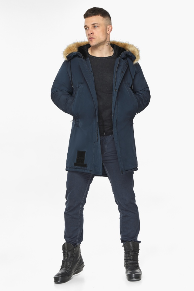 """Куртка – воздуховик стильный мужской зимний цвет тёмно-синий модель 30551 Braggart """"Angel's Fluff Man"""" фото 5"""