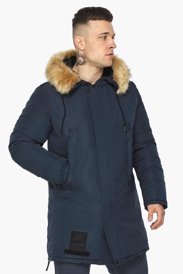"""Куртка – воздуховик стильный мужской зимний цвет тёмно-синий модель 30551 Braggart """"Angel's Fluff Man"""" фото 3"""