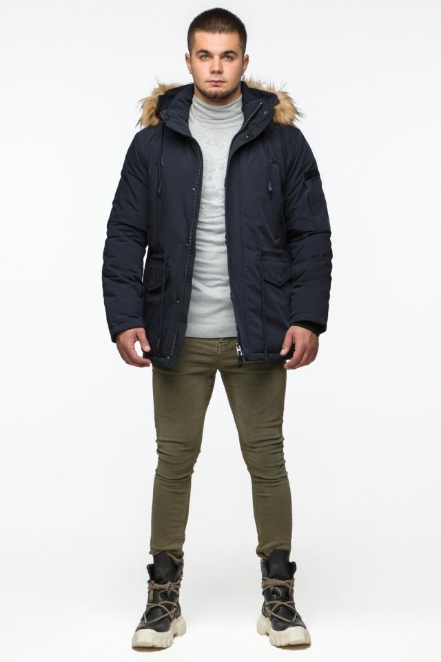"Удобная мужская зимняя парка тёмно-синяя модель 25770 Braggart ""Youth"" фото 3"