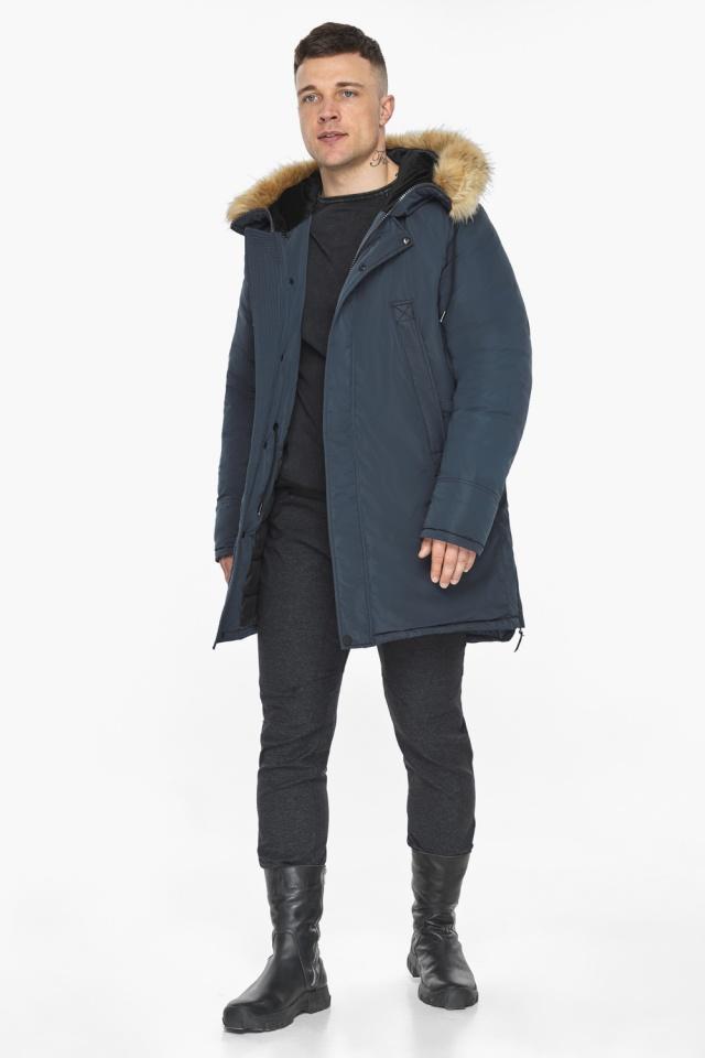 """Куртка – воздуховик удобный мужской графитово-синий зимний модель 30551 Braggart """"Angel's Fluff Man"""" фото 3"""