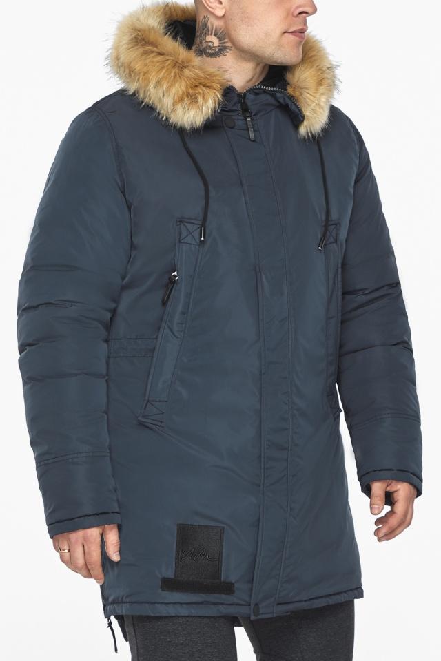 """Куртка – воздуховик удобный мужской графитово-синий зимний модель 30551 Braggart """"Angel's Fluff Man"""" фото 10"""