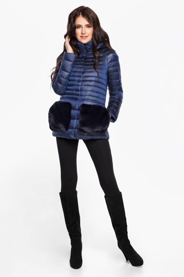 """Сапфировая женская куртка короткая модель 15115 Braggart """"Angel's Fluff"""" фото 3"""