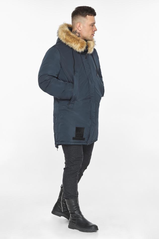 """Куртка – воздуховик удобный мужской графитово-синий зимний модель 30551 Braggart """"Angel's Fluff Man"""" фото 8"""
