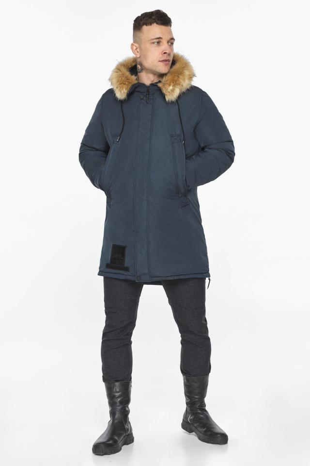 """Куртка – воздуховик удобный мужской графитово-синий зимний модель 30551 Braggart """"Angel's Fluff Man"""" фото 2"""