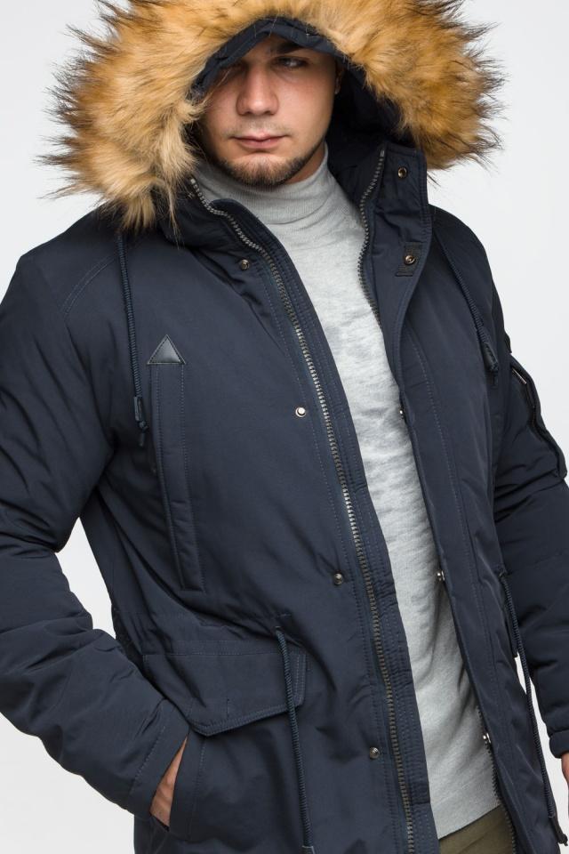 "Удобная мужская зимняя парка тёмно-синяя модель 25770 Braggart ""Youth"" фото 10"