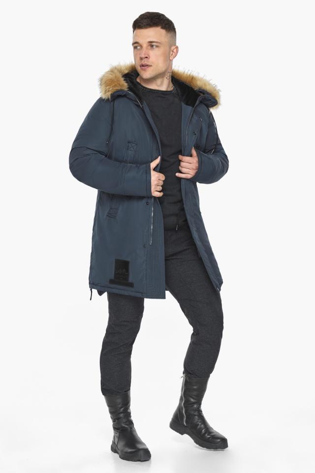"""Куртка – воздуховик удобный мужской графитово-синий зимний модель 30551 Braggart """"Angel's Fluff Man"""" фото 5"""