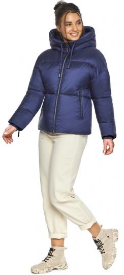 """Куртка женская с вшитым капюшоном зимняя цвет синий бархат модель 46280 Braggart """"Angel's Fluff"""" фото 1"""