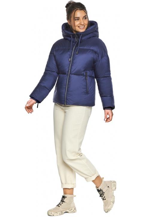 """Куртка жіноча з вшитим капюшоном зимова колір синій оксамит модель 46280 Braggart """"Angel's Fluff"""" фото 1"""