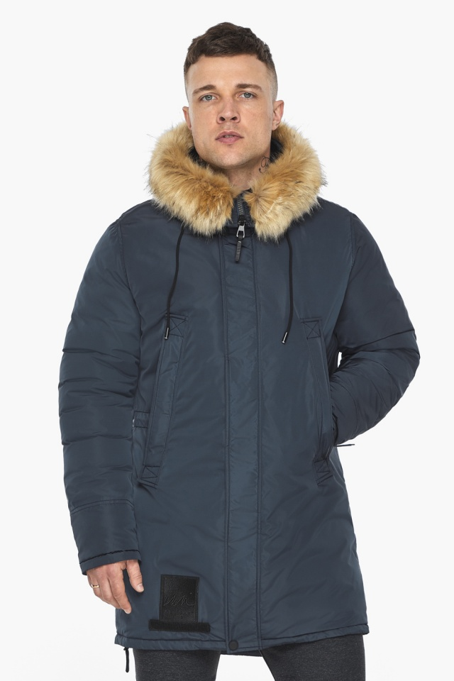 """Куртка – воздуховик удобный мужской графитово-синий зимний модель 30551 Braggart """"Angel's Fluff Man"""" фото 4"""